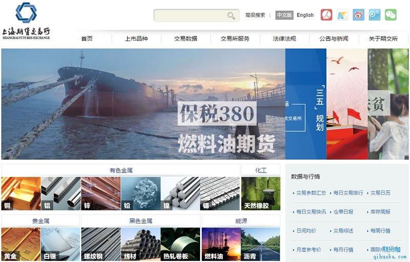 上海期货交易所网站首页